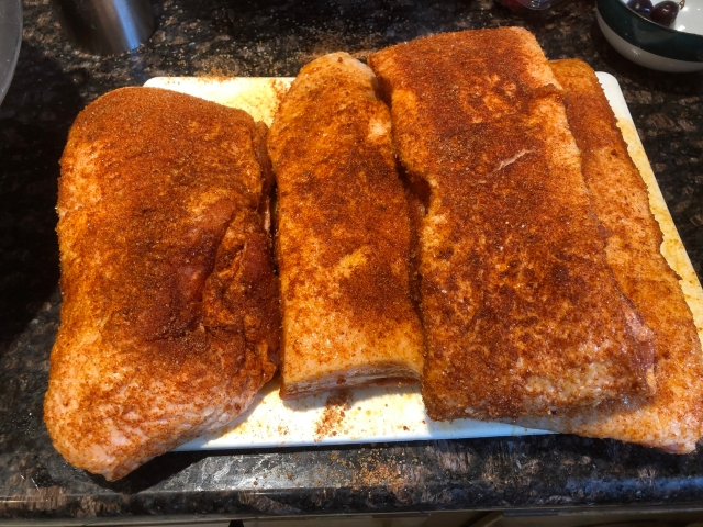 Pork belly, rubbed and ready to rest, then roast